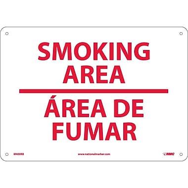 Smoking Area (Bilingual), 10X14, Rigid Plastic
