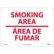 Smoking Area (Bilingual), 10X14, Rigid Plastic