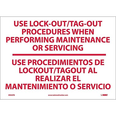 Use Lock-Out/Tag Out Procedures. . .(Bilingual), 10X14, Adhesive Vinyl