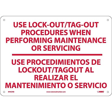 Use Lock Out/Tag-Out Procedures.. Use Procedimientos. . .(Bilingual), 10X14, Rigid Plastic