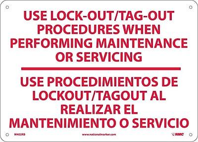 Use Lock Out/Tag-Out Procedures.. Use Procedimientos. . .(Bilingual), 10X14, Rigid Plastic