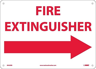 Fire Extinguisher (With Right Arrow), 10X14, Rigid Plastic
