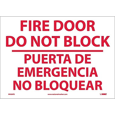 Fire Door Do Not Block Puerta De Eme. . .(Bilingual), 10X14, Adhesive Vinyl