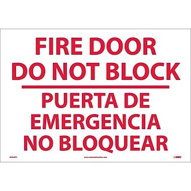 Fire Door Do Not Block Puerta De Emergencia ...(Bilingual), 14X20, Adhesive Vinyl