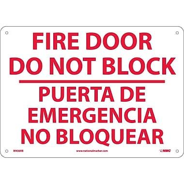 Fire Door Do Not Block Puerta De Emergencia. . .(Bilingual), 10X14, Rigid Plastic