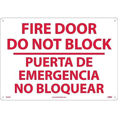 Fire Door Do Not Block Puerta De Emergencia...(Bilingual), 14X20, Rigid Plastic