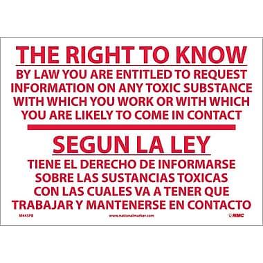 The Right To Know By Law Etc. Segun La L (Bilingual), 10X14, Adhesive Vinyl