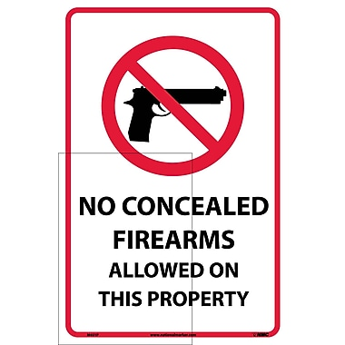 No Concealed Firearms Allowed On This Property, 18X12, Adhesive Vinyl