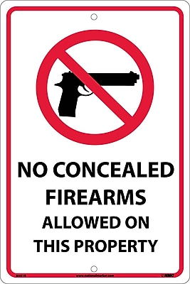 No Concealed Firearms Allowed On This Property, 18X12, Rigid Plastic