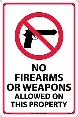 No Firearms Or Weapons Allowed On This Property, 18X12, Rigid Plastic