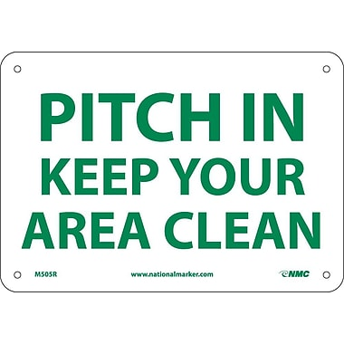Pitch In Keep Your Area Clean, 7X10, Rigid Plastic