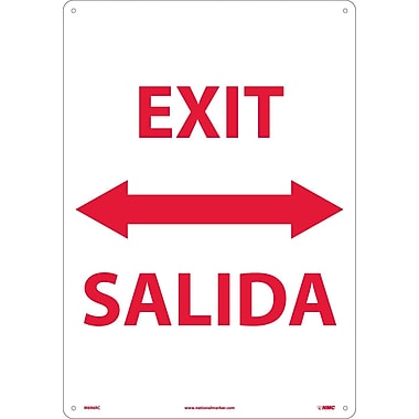 Exit Double Arrow Bilingual, 20X14, Rigid Plastic
