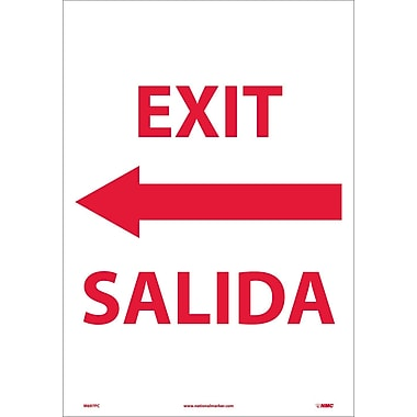 Exit Left Arrow Bilingual, 20X14, Adhesive Vinyl