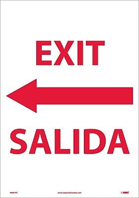 Exit Left Arrow Bilingual, 20X14, Adhesive Vinyl