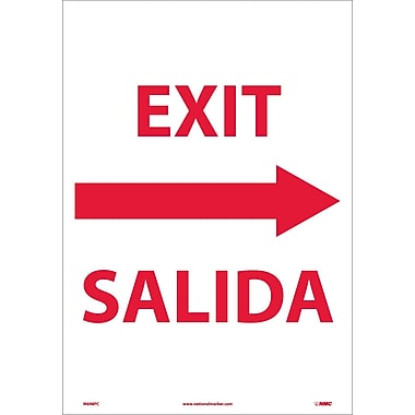 Exit Right Arrow Bilingual, 20X14, Adhesive Vinyl