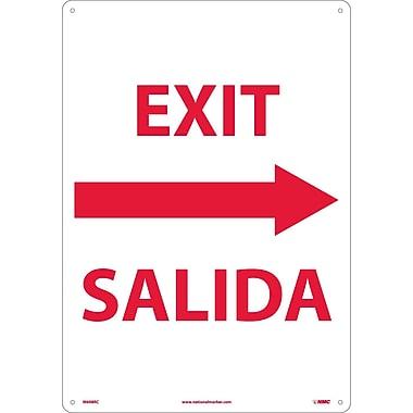 Exit Right Arrow Bilingual, 20X14, Rigid Plastic