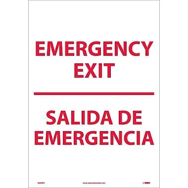 Emergency Exit Bilingual, 20X14, Adhesive Vinyl