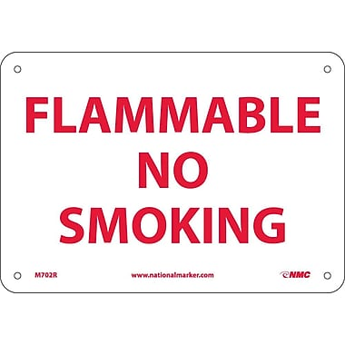 Flammable No Smoking, 7X10, Rigid Plastic