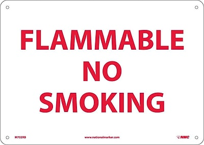 Flammable No Smoking, 10X14, Rigid Plastic