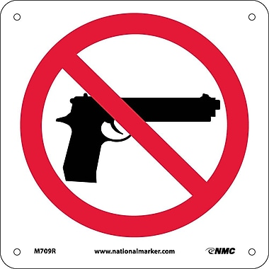 No Firearms Graphic Only, 8 X 8, Rigid Plastic