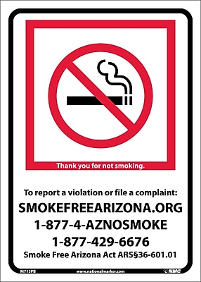 Arizona No Smoking, 10X14, Adhesive Vinyl