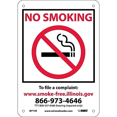 Illinois No Smoking (Graphic), 10X7, Rigid Plastic