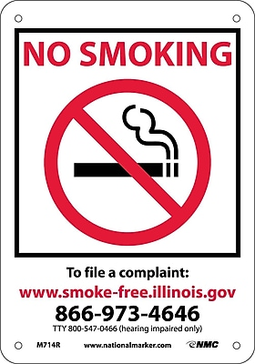 Illinois No Smoking (Graphic), 10X7, Rigid Plastic