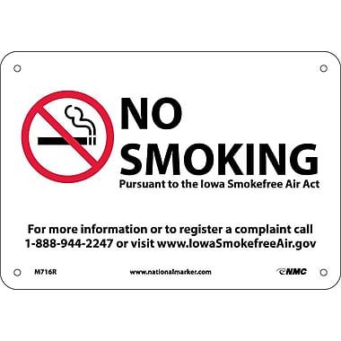 Iowa No Smoking (Graphic), 7X10, Rigid Plastic