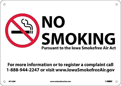 Iowa No Smoking (Graphic), 10X14, Rigid Plastic