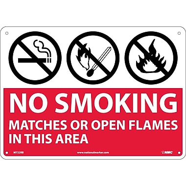 (Graphics) No Smoking Matches Or Open Flames In This Area, 10X14, Rigid Plastic