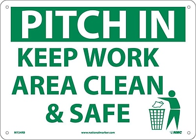 Pitch In Keep Area Clean & Safet, 10X14, Rigid Plastic