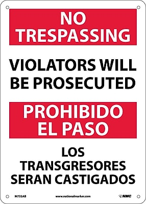 No Trespassing Violators Will Be Prosecuted, Bilingual, 14X10, .040 Aluminum