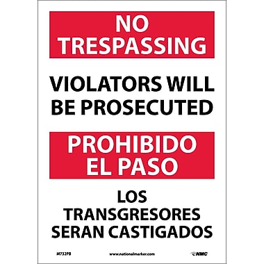No Trespassing Violators Will Be Prosecuted, Bilingual, 14X10, Adhesive Vinyl