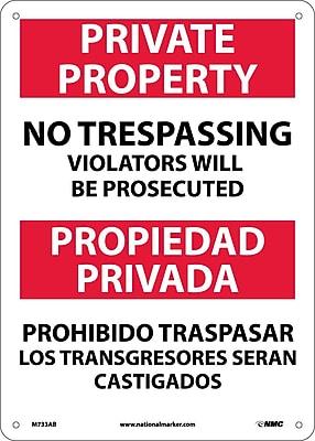 Private Property No Trespassing Violators Will Be Prosecuted, Bilingual, 14X10, .040 Aluminum
