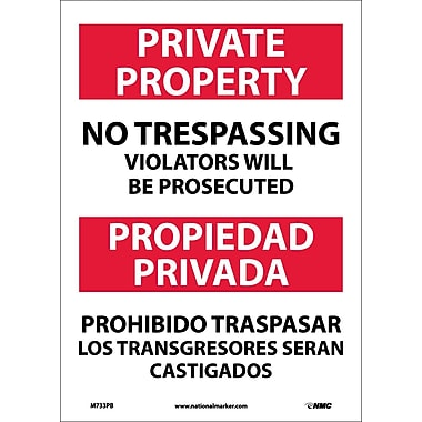 Private Property No Trespassing Violators Will Be Prosecuted, Bilingual, 14X10, Adhesive Vinyl