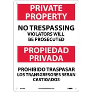 Private Property No Trespassing Violators Will Be Prosecuted, Bilingual, 14X10, Rigid Plastic