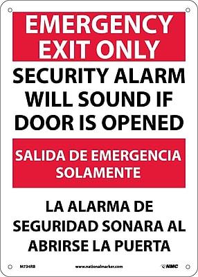 Emergency Exit Security Alarm Will Sound If Door Is Opened, Bilingual, 14X10, Rigid Plastic