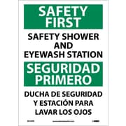 Safety First Safety Shower And Eyewash Station, Bilingual, 14X10, Adhesive Vinyl