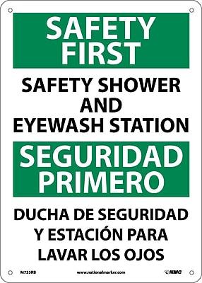 Safety First Safety Shower And Eyewash Station, Bilingual, 14X10, Rigid Plastic
