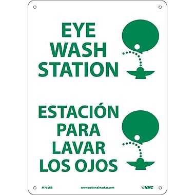 Eye Wash Station (Graphic), Bilingual, 14X10, Rigid Plastic