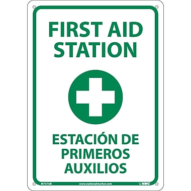 First Aid Station (Graphic), Bilingual, 14X10, .040 Aluminum