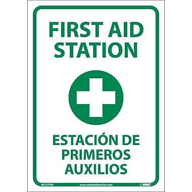 First Aid Station (Graphic), Bilingual, 14X10, Adhesive Vinyl