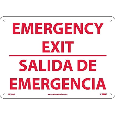Emergency Exit, Bilingual, 10X14, .040 Aluminum
