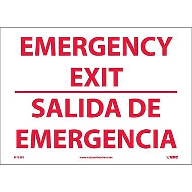 Emergency Exit, Bilingual, 10X14, Adhesive Vinyl