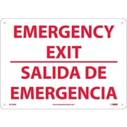 Emergency Exit, Bilingual, 10X14, Rigid Plastic