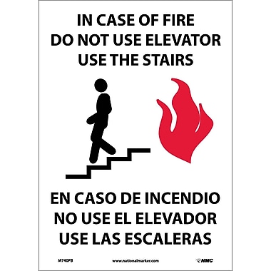 In Case Of Fire Do Not Use Elevator Use Stairs (Graphic), Bilingual 14X10, Adhesive Vinyl