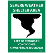 Severe Weather Shelter Area (Graphic), Bilingual, 14X10, Adhesive Vinyl