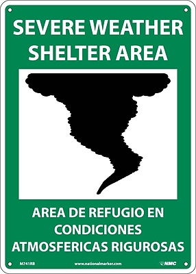 Severe Weather Shelter Area (Graphic), Bilingual, 14X10,