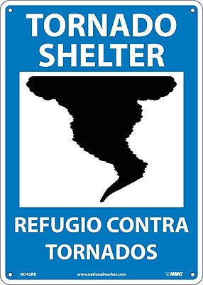 Tornado Shelter (Graphic), Bilingual, 14X10, Rigid Plastic