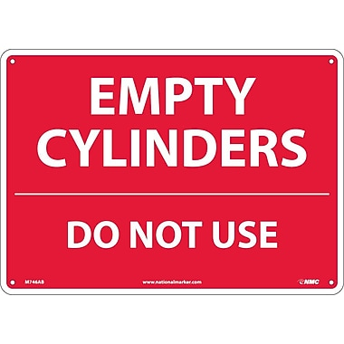 Empty Cylinders Do Not Use, 10X14, .040 Aluminum